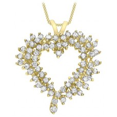 Carissima Gold 9 ct Yellow Gold 0.22 ct White Diamond Heart Pendant