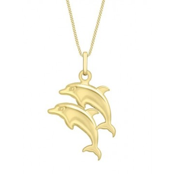 Carissima Gold 9 ct Yellow Gold with Double Dolphin Pendant on Curb Chain Necklace of Length 46 cm/18 inch