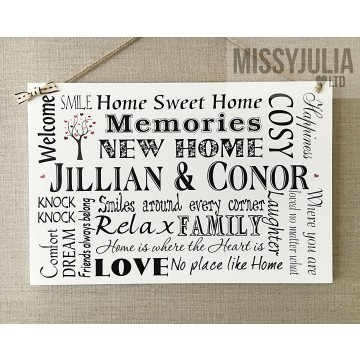 Wooden Plaque NEW HOME Gift -  PERSONALISED