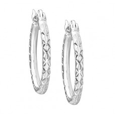 Carissima 9 ct White Gold 18 mm Diamond Cut Creole Earrings
