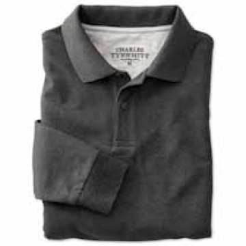 Charcoal Long Sleeve Classic Fit Pique Polo