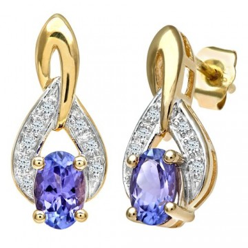 NAAVA 9ct Yellow Gold Tanzanite And Diamond Drop Earrings