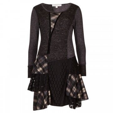 Charcoal Edwardian Plaid Patchwork Tunic Dress From Apricot