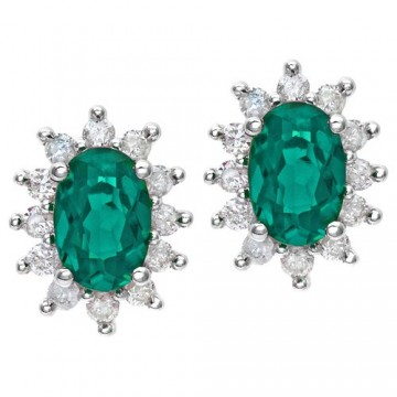 NAAVA Emerald Diamond And White Gold Earrings