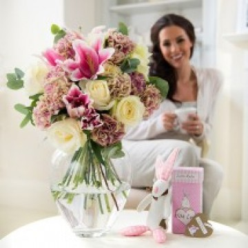 Baby Girl Rufus Rabbit Gift Set From Appleyard Flowers
