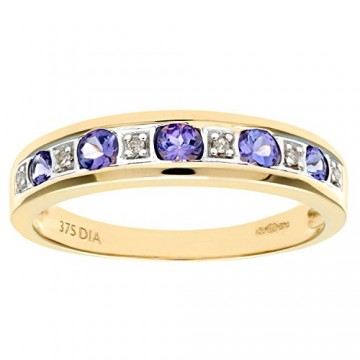 NAAVA 9ct Yellow Gold Tanzanite and Diamond Eternity Ring